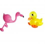 Merkloos Opblaasbare eend en flamingo