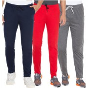 Cliths Red Dark Grey And Navy Blue Slim Fit Solid Cotton Track Joggers for Men (Pack Of 3)