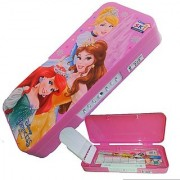 DollsnKings Barbie Princesses Girls Printed Plastic Pencil Box with Password Number Lock Pattern Children Large (Multicolour)