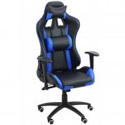 Scaun pentru gaming, inaltime maxima 134 cm, suporta 110 kg, Negru/Albastru