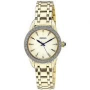 Seiko Gold Stainless Steel Round Dial Analog Watch For Women (SRZ386P1)