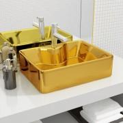 vidaXL aranyszínű kerámia mosdókagyló csap furattal 48 x 37 x 13,5 cm