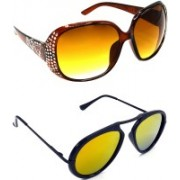 Hrinkar Round Sunglasses(Brown, Golden)