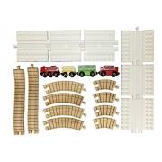 16 Piece Train Set, Oval Loop, 6 Block Platforms, 8 Wooden Curves, 2 Elevation Ramps, 4 Trains - Combine THOMAS BRIO IKEA IMAGINARIUM MELISSA & DOUG KIDKRAFT Trains and LEGO DUPLO
