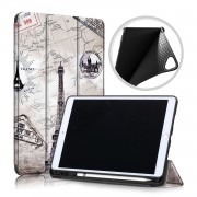 Patterned Printing Leather Tri-fold Stand Smart Tablet Casing with Pen Slot for Apple iPad 10.2 (2019) - Tower
