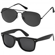 Code Yellow Black Aviator Sunglass + Free Black Wayfarer (UV Protection) Unisex Sunglass