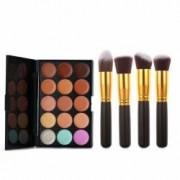 Set 4 pensule machiaj Cosmetic Par Natural-Sintetic Make-up Profesional Negre + Trusa 15 Corector + Burete Machiaj Cadou
