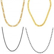 Stainless Steel Black Silver Plated Goldplated Chain for Punk Stye Mens/Boys/Gents/Guys Combo of 4 Chains