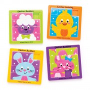 Baker Ross Easter Character Sliding Puzzles - 4 Pocket Puzzles In 4 Assorted Designs. Brain Teasers For Kids. Easter Party Bag Fillers. Size 6.3cm x 6.3cm.