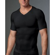 SPANX For Men Zoned Performance V Neck Short Sleeved T Shirt Black 618