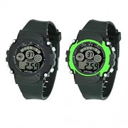 VITREND(R-TM) Sports Digital 7 Color Back Night Light Gift Watch Combo Set of 2 Watches for Boys and Girls
