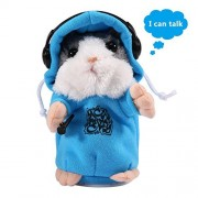 Talking Hamster Toys,Aolvo Mimicry Pet Repeats What You Say Audio Voice Recorder Player Recording Device Recordable Doll Soft Plush Animal with Coat for Children Toddlers