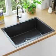 vidaXL Lava-louça de cozinha artesanal com ralo aço inoxidável preto