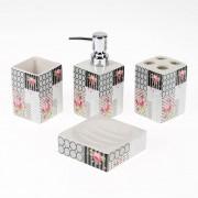 Set de accesorii pentru baie, din portelan, cu trandafiri roz
