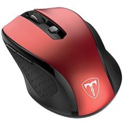 VicTsing 2.4G Wireless Mouse Portable Optical USB Mouse Mice 5 Adjustable DPI Levels 6 Buttons for Laptop Mac Macbook PC Computer Red