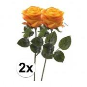 Bellatio flowers & plants 2 x Kunstbloemen steelbloem geel/oranje roos Simone 45 cm