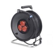 Prelungitor electric pe tambur de plastic 3 prize 25m cablu cauciuc 3x1,5 mm², pentru exterior IP44