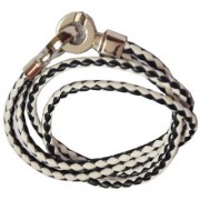 Men Style Super Quality Stainless Steel Double Braided White Black Leather 00 Bracelet For Men And Women