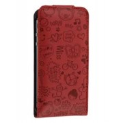 Lopez iPhone 4/4S Slim Synthetic Leather Flip Case - Apple Leather Flip Case (Burgundy Red)