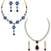 Om Jewells Gold Plated Combo of 2 Sparkling Crystal Necklace set for girls and women CO1000119