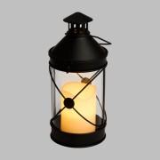 Luci Da Esterno Lanterna Cilindrica nera in Metallo e Vetro con Candela LED bianco caldo, h 27 cm, Telecomando, Timer