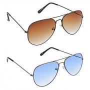 HRINKAR Men's Brown Mirrored Aviator Sunglasses
