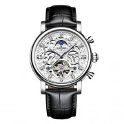 Baosity Reloj Mecánico Automático Correa de PU Cuero Esfera de Diamantes de Imitación Diseño Lujo Negro + Blanco
