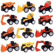 Construction Trucks Transport Truck Toy - 12 Pcs Construction Party Supplies Construction Party Favors for Kids, Great Pull Back Truck Toy for Boys and Girls - Original - By LEHII