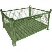 Heson Stapelbehälter mit Stahlblechboden LxB 1200 x 1000 mm grün lackiert
