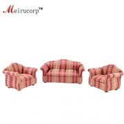 Meirucorp Dollhouse 1/12 Scale Miniature Furniture Living Room 2 Chairs And A Sofa Set