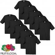 Fruit of the Loom 10 T-Shirt original 100% algodão preto L