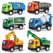 Set of 6 Pullback Truck City Builder Construction Vehicles for Kids - Dump Truck Cement Mixer Garbage Truck Excavator Crane + Postal Truck