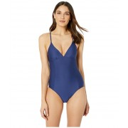 Splendid Solid Removable Soft Cup One-Piece Swimsuit Navy