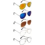 NuVew Aviator Sunglasses(Blue, Brown, Golden, Clear, Golden, Blue, Violet)