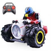 W RETAILS RC Stunts Control Bike 3D Stunt Motor Racing Drift Bigfoot RTR Motorcycle Water & Land Buggy Vehicle Radio Control Bike Rock Crawler Hobby Toy with Light