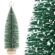 Brad de Craciun artificial decorativ, cu stea si varfuri ninse, verde, 30cm