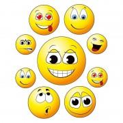 Geen 9x Raamstickers smileys/emoticon raamdecoratie