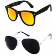 Yaadi Aviator, Wayfarer Sunglasses(Black, Golden)
