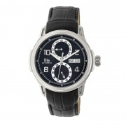 Reign Cascade Automatic Leather-Band Watch w/Day/Date - Silver/Black REIRN4402