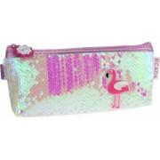 Penar Borseta DACO Model Flamingo cu Paiete 20x8.5x3.5 cm Material PVC Culoare Roz Borseta pentru Scoala Penare Tip Borseta