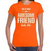 Bellatio Decorations Awesome friend cadeau t-shirt oranje dames XL - Feestshirts