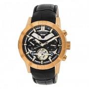 Heritor Automatic Hamilton Semi-Skeleton Leather-Band Watch - Rose Gold/Black HERHR4106