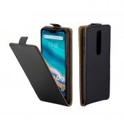 Nokia Zakelijke stijl verticale Flip TPU lederen tas met kaartsleuf voor Nokia 7.1 (zwart)