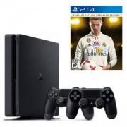 Конзола PlayStation 4 Slim 500GB Black, Sony PS4+Геймпад - Sony PlayStation DualShock 4 Wireless+Игра FIFA 18 Ronaldo edition за Playstation 4