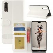 Para Huawei P20 PU + TPU Caballo Loco Textura De Funda De Cuero Flip Horizontal Con Cartera Y Titular Y Ranuras De Tarjeta (blanco)