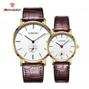 Ceasuri cuplu curea maro Longbo