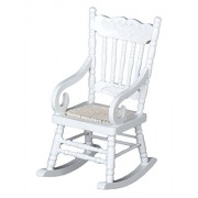 C-Pioneer Mini White Wooden Rocking Chair for 1:12 Doll House Miniature Living Room Accessory