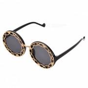 gafas de sol retro reflectantes huecos-hacia fuera de las mujeres - negro + plata + gris