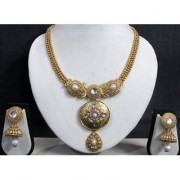 Golden Round Pendant Jhumka Necklace Set