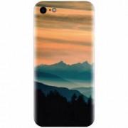 Husa silicon pentru Apple Iphone 5 / 5S / SE Blue Mountains Orange Clouds Sunset Landscape